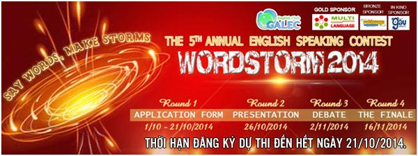 Trung tâm ngoại ngữ Multi Language tài trợ vàng cho cuôc thi nói tiếng Anh Wordstorm 2014