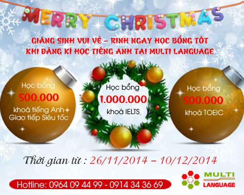 Giáng sinh vui vẻ - Rinh ngay học bổng tốt khi đang kí học tiếng Anh tại Multi Language