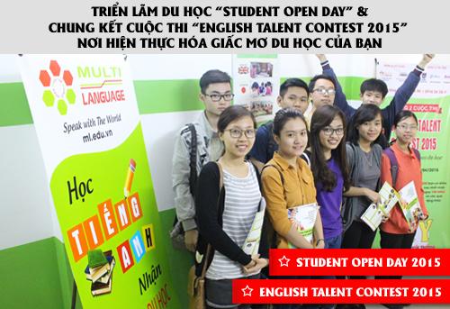 """Triển lãm du học """"Student Open Day"""" & Chung Kết cuộc thi """"English Talent Contest 2015"""" Nơi hiện thực hóa giấc mơ du học của bạn"""